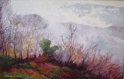 WINTER MISTS. Oil on canvas.  40 x 20,5 cm. 2003. Private collection.