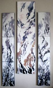 EXILES. Triptych.Oil on canvas. 20 cm x 120 cm (two times) and 30 cm x 120 cm. 2009.