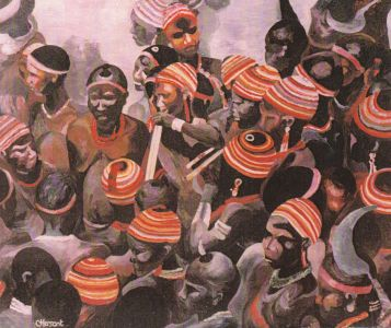 AFRICAN CROWD. Oil on canvas. 65 x 50 cm. Private collection.