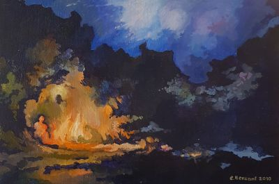 LOOKING FOR SHELTER. Oil on canvas.  22 x 33 cm. 2010.