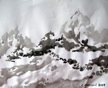 MOUNTAINS N°4. Ink on paper. 21 x 17 cm. 2007.