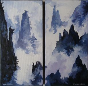 CHINES LANDSCAPE N°4 AND 5. Diptych. Oil on canvas. 40 x 40 cm. 2008. Private collection.